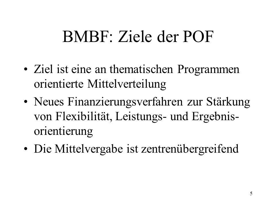 BMBF: Ziele der POF Ziel ist eine an thematischen Programmen orientierte Mittelverteilung.