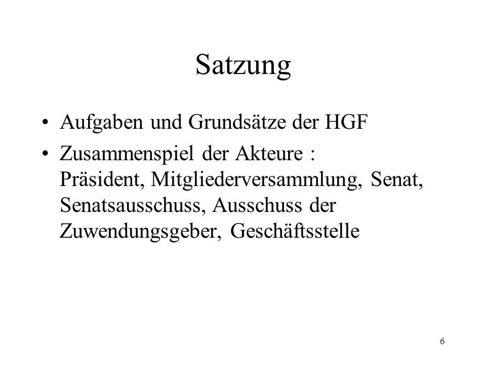 Satzung Aufgaben und Grundsätze der HGF