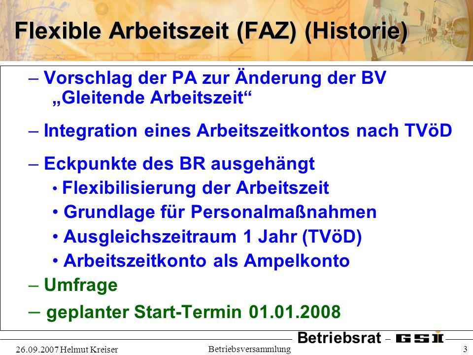 Flexible Arbeitszeit (FAZ) (Historie)