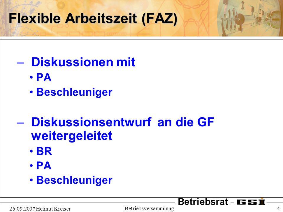 Flexible Arbeitszeit (FAZ)