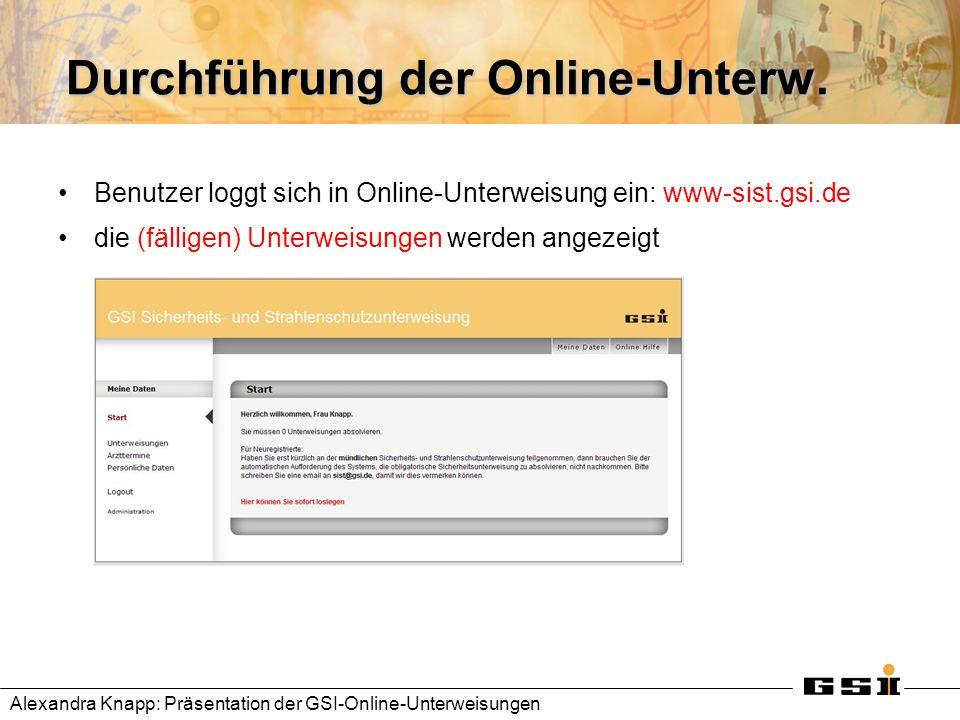 Durchführung der Online-Unterw.