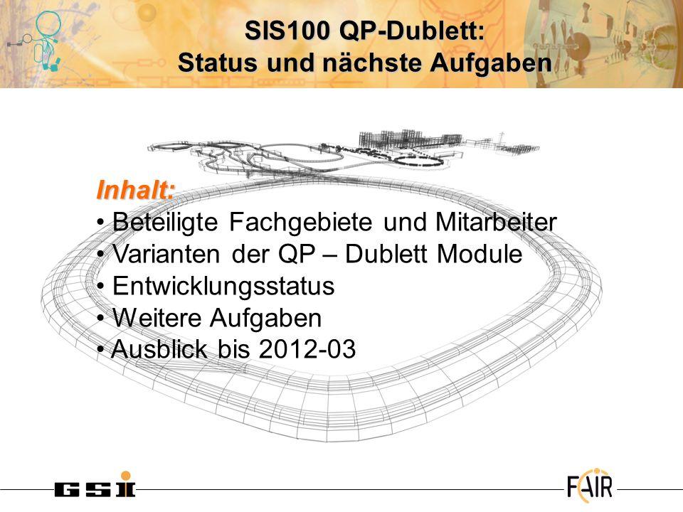 SIS100 QP-Dublett: Status und nächste Aufgaben