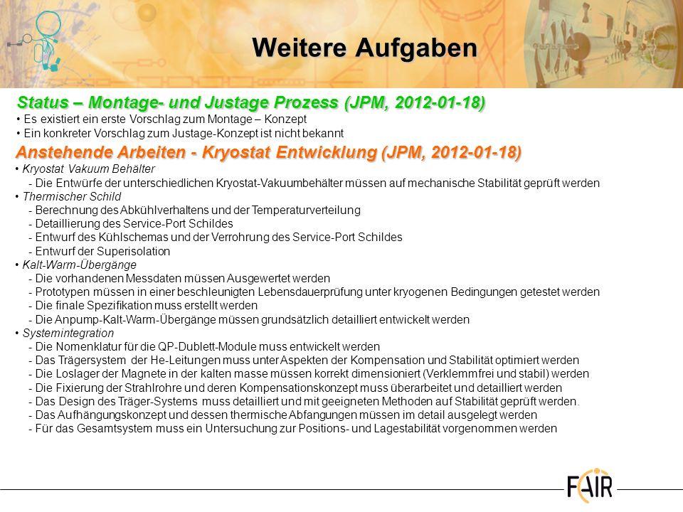 Weitere AufgabenStatus – Montage- und Justage Prozess (JPM, 2012-01-18) Es existiert ein erste Vorschlag zum Montage – Konzept.
