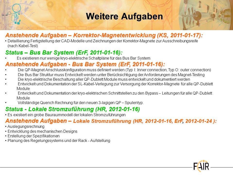 Weitere Aufgaben Anstehende Aufgaben – Korrektor-Magnetentwicklung (KS, 2011-01-17):