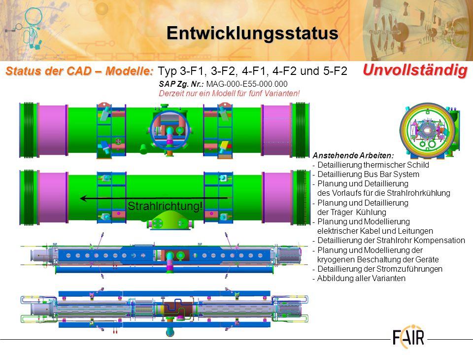 Entwicklungsstatus Status der CAD – Modelle: Typ 3-F1, 3-F2, 4-F1, 4-F2 und 5-F2 Unvollständig. SAP Zg. Nr.: MAG-000-E55-000.000.