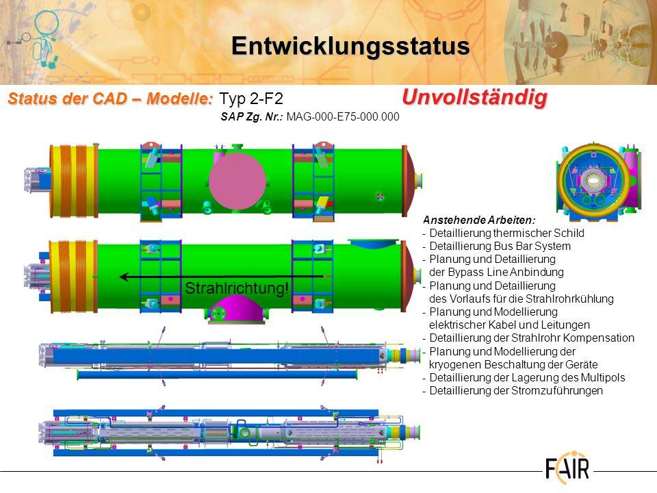 Entwicklungsstatus Status der CAD – Modelle: Typ 2-F2 Unvollständig