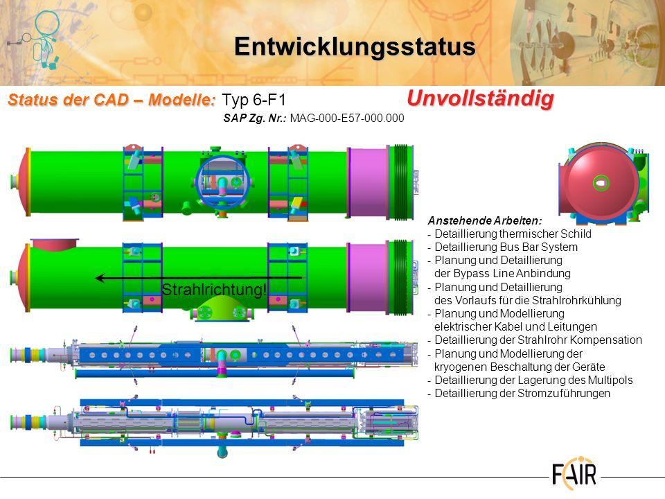 Entwicklungsstatus Status der CAD – Modelle: Typ 6-F1 Unvollständig