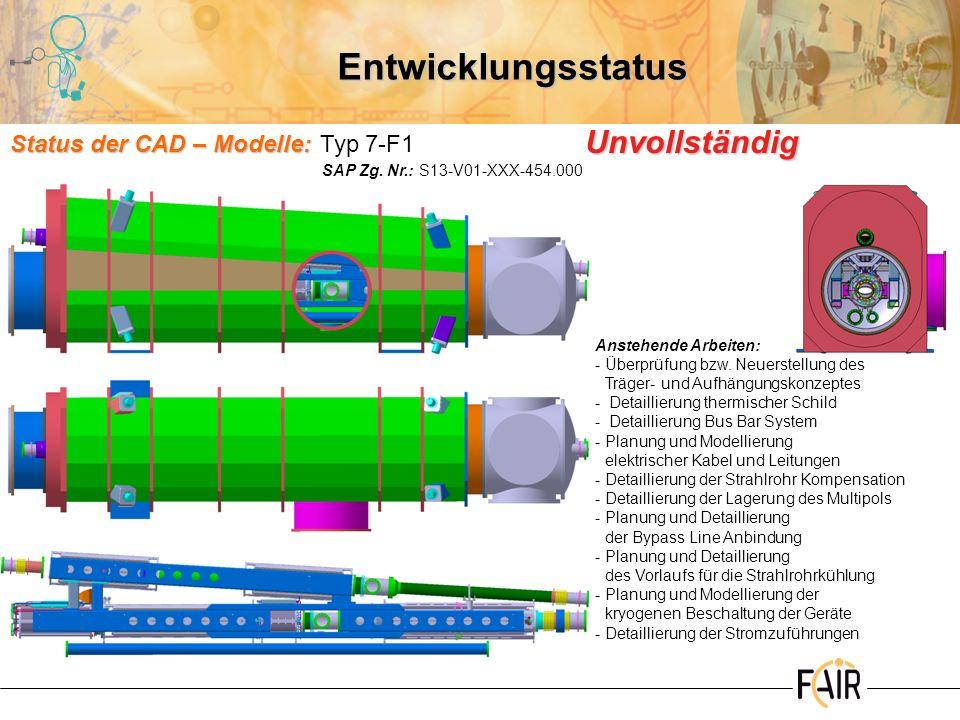 Entwicklungsstatus Unvollständig Status der CAD – Modelle: Typ 7-F1