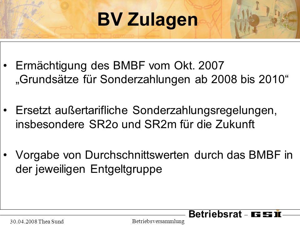 """BV Zulagen Ermächtigung des BMBF vom Okt. 2007 """"Grundsätze für Sonderzahlungen ab 2008 bis 2010"""