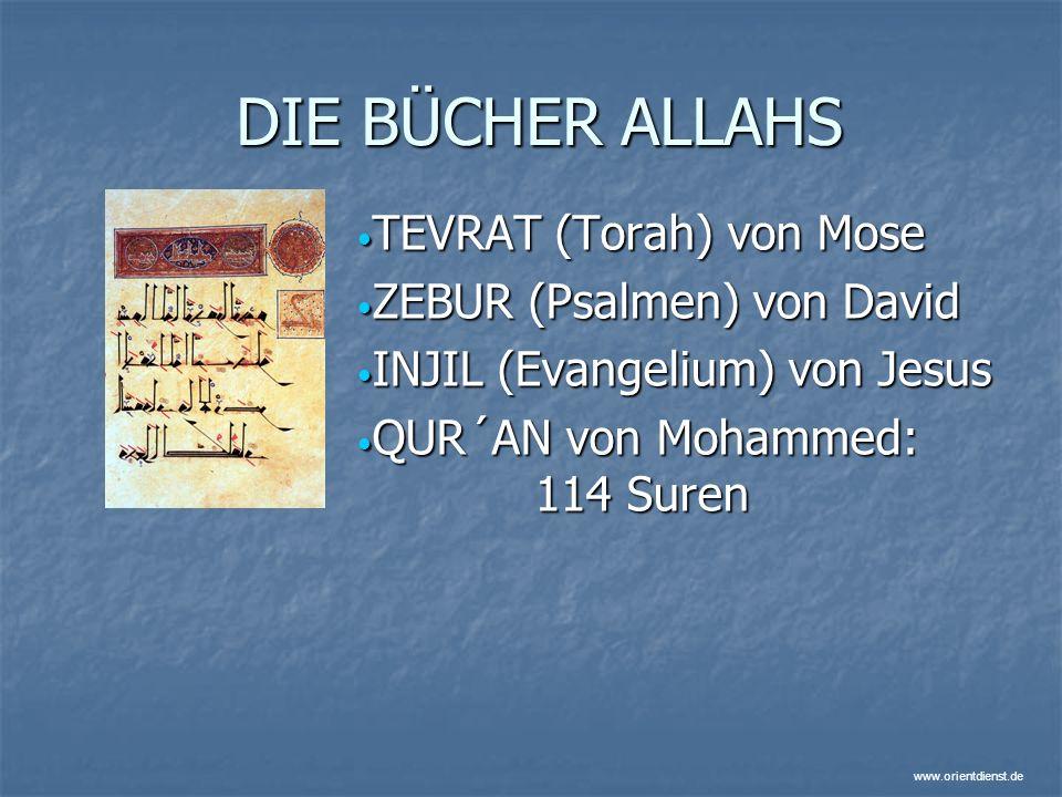 DIE BÜCHER ALLAHS TEVRAT (Torah) von Mose ZEBUR (Psalmen) von David
