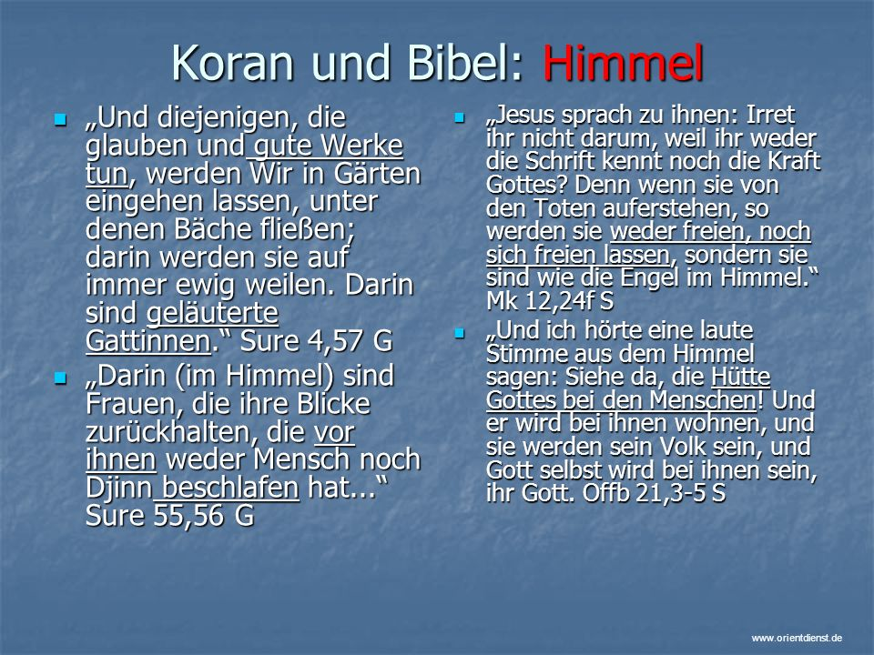 Koran und Bibel: Himmel
