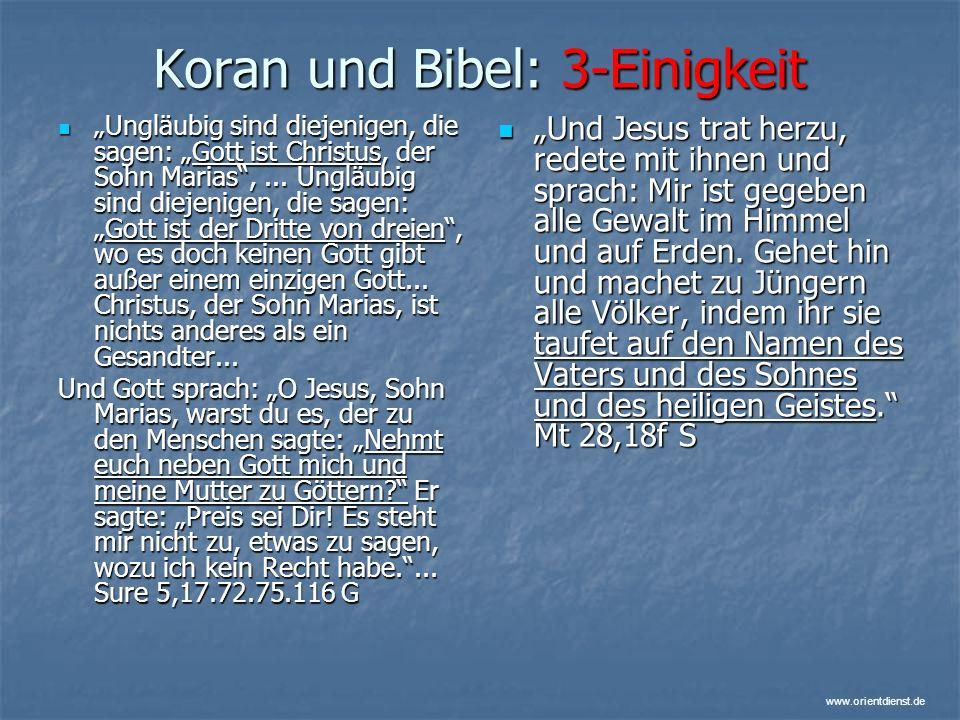 Koran und Bibel: 3-Einigkeit