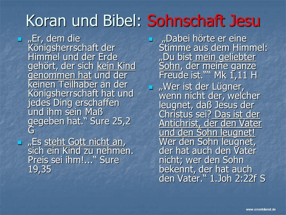 Koran und Bibel: Sohnschaft Jesu