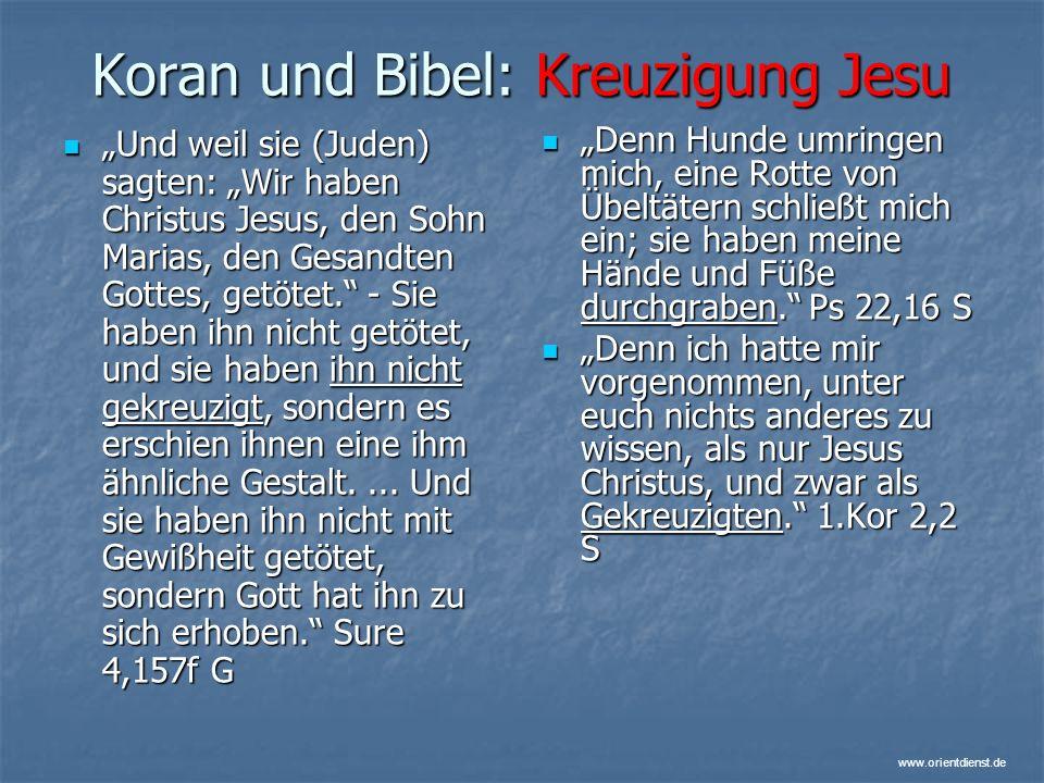 Koran und Bibel: Kreuzigung Jesu