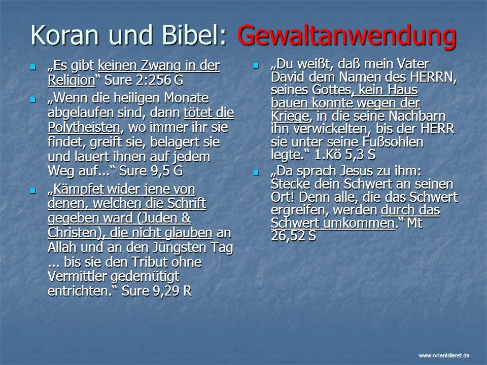 Koran und Bibel: Gewaltanwendung