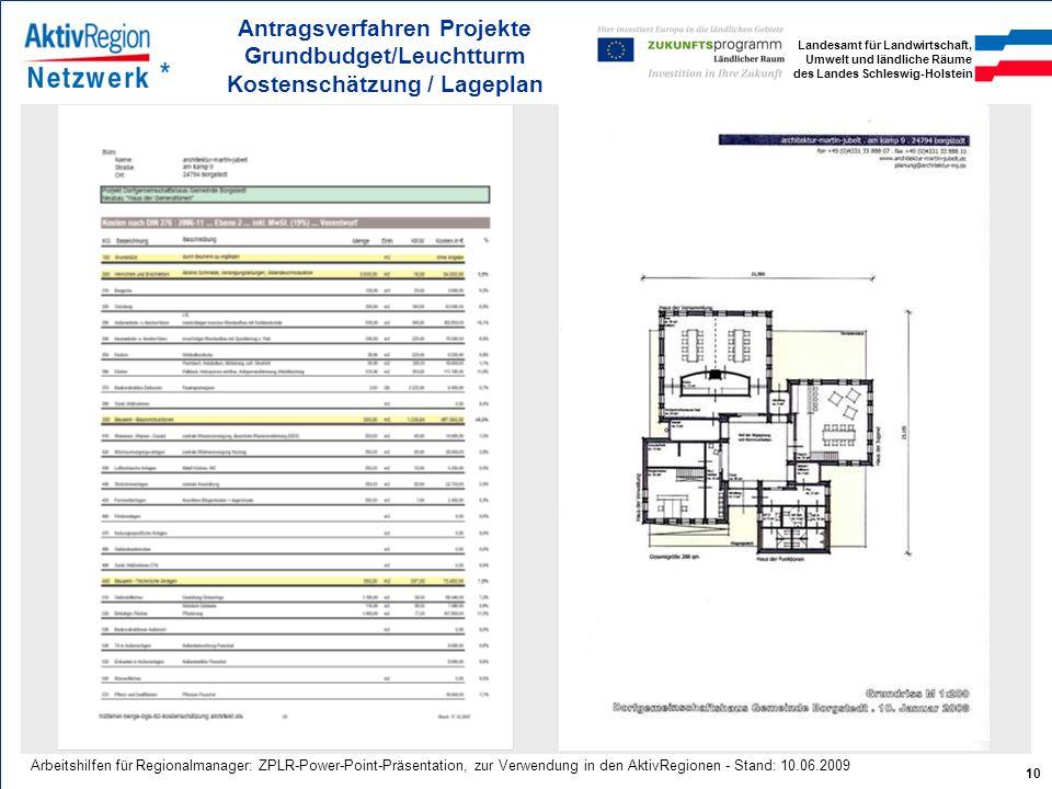 Antragsverfahren Projekte Grundbudget/Leuchtturm Kostenschätzung / Lageplan