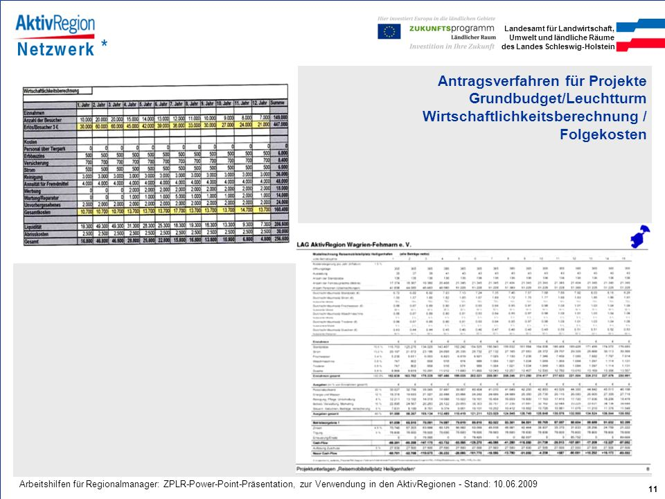 Antragsverfahren für Projekte Grundbudget/Leuchtturm Wirtschaftlichkeitsberechnung / Folgekosten