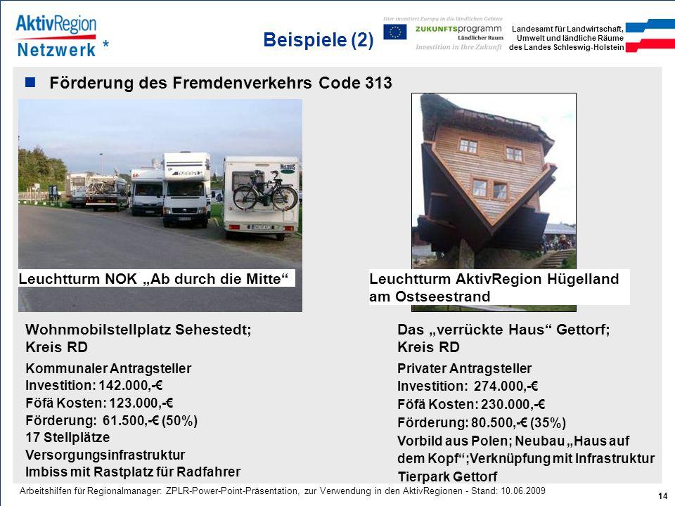 Beispiele (2) Förderung des Fremdenverkehrs Code 313