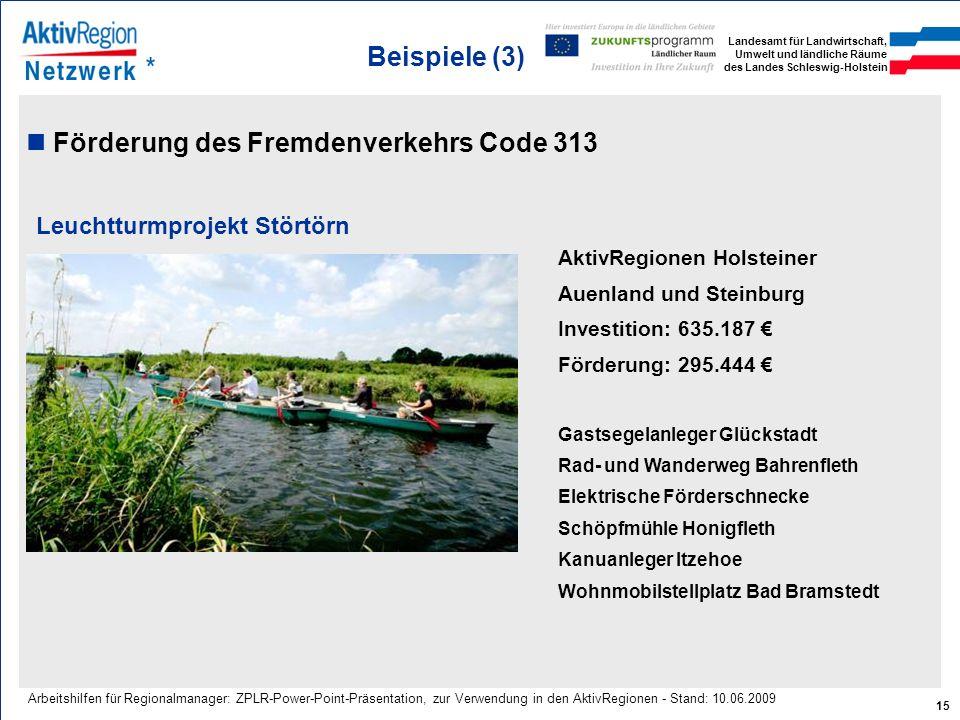 Förderung des Fremdenverkehrs Code 313