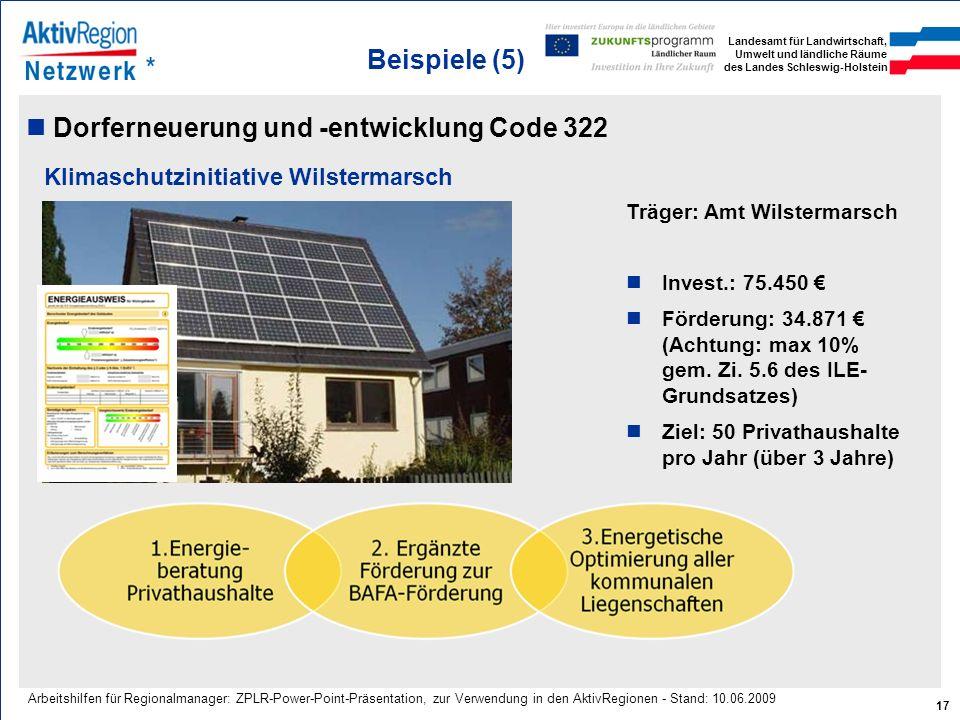Dorferneuerung und -entwicklung Code 322