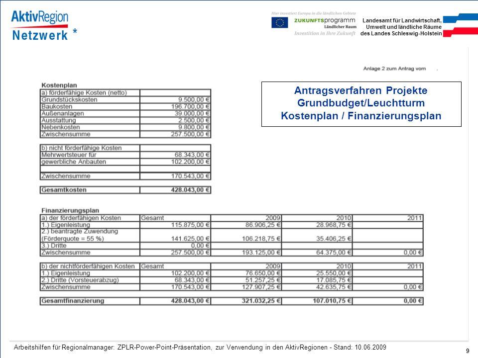 Antragsverfahren Projekte Grundbudget/Leuchtturm Kostenplan / Finanzierungsplan