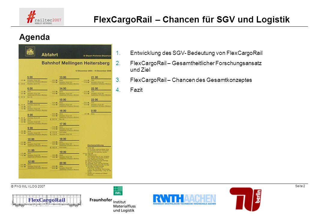 Agenda Entwicklung des SGV- Bedeutung von FlexCargoRail