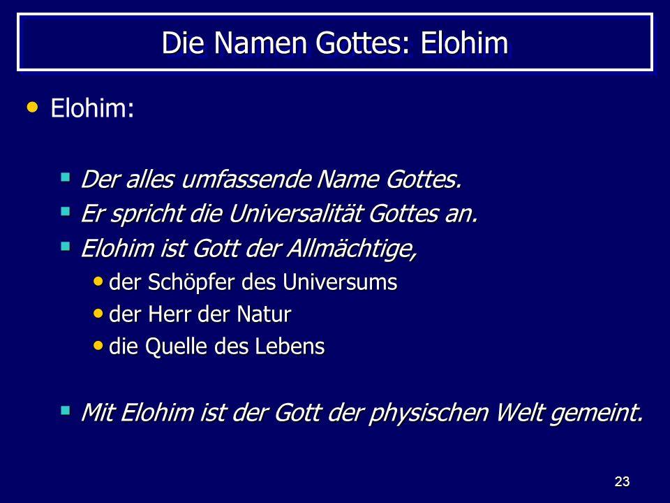 Die Namen Gottes: Elohim