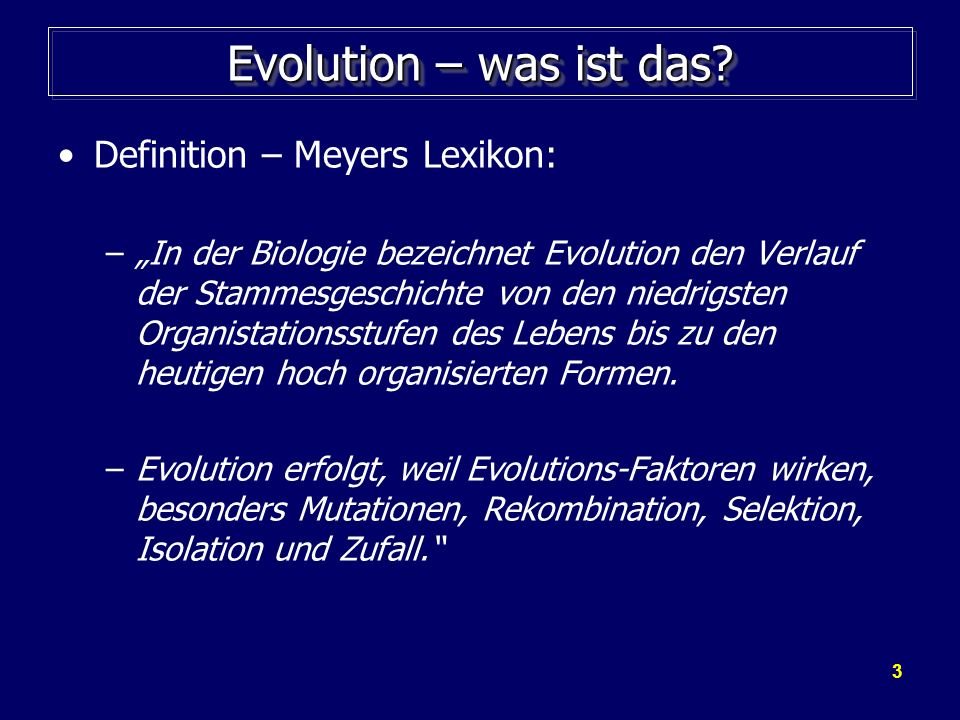 Evolution – was ist das Definition – Meyers Lexikon: