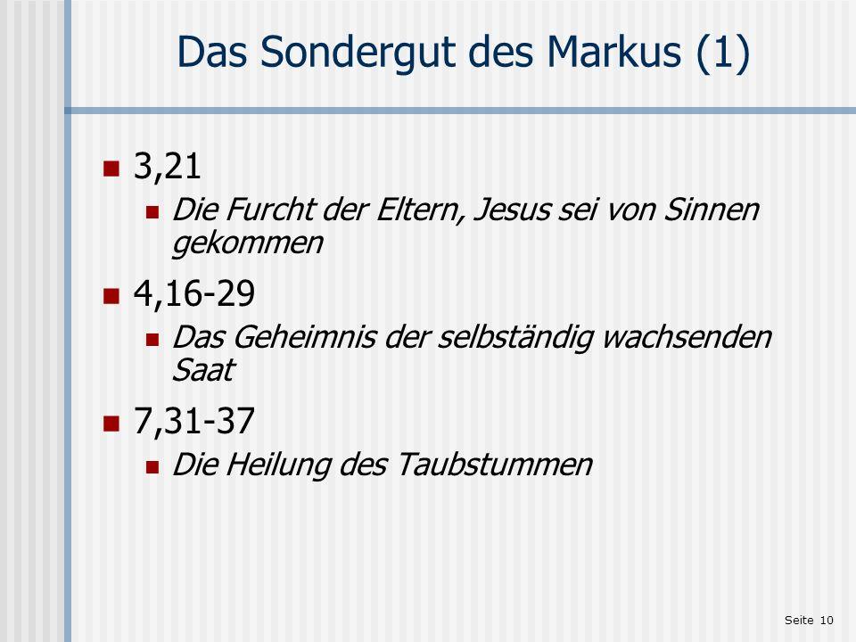 Das Sondergut des Markus (1)