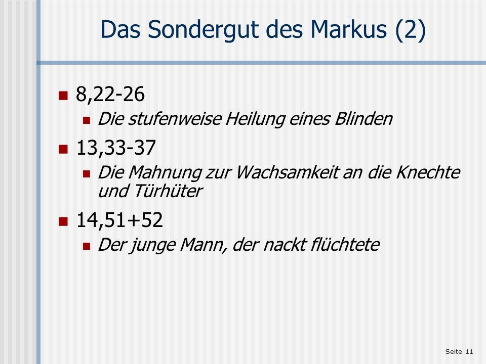 Das Sondergut des Markus (2)
