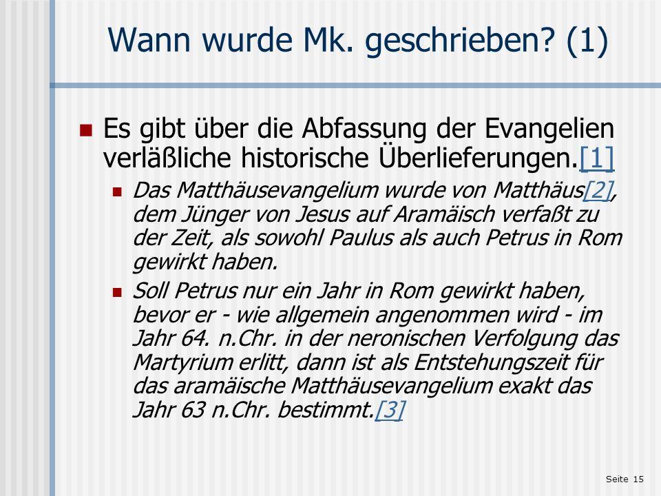 Wann wurde Mk. geschrieben (1)