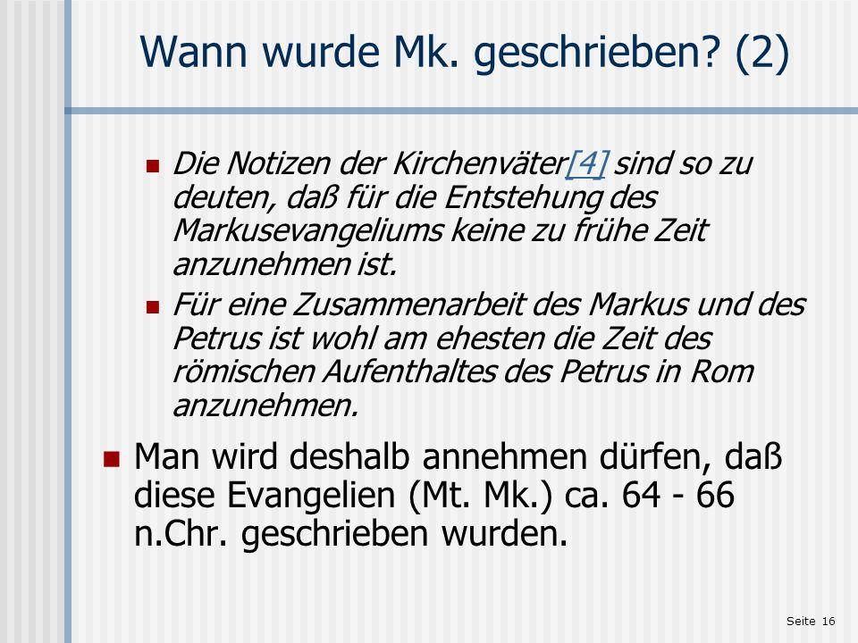 Wann wurde Mk. geschrieben (2)