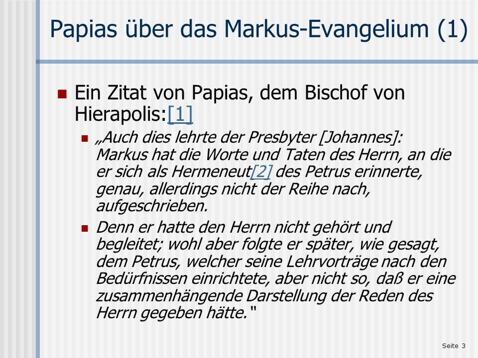 Papias über das Markus-Evangelium (1)