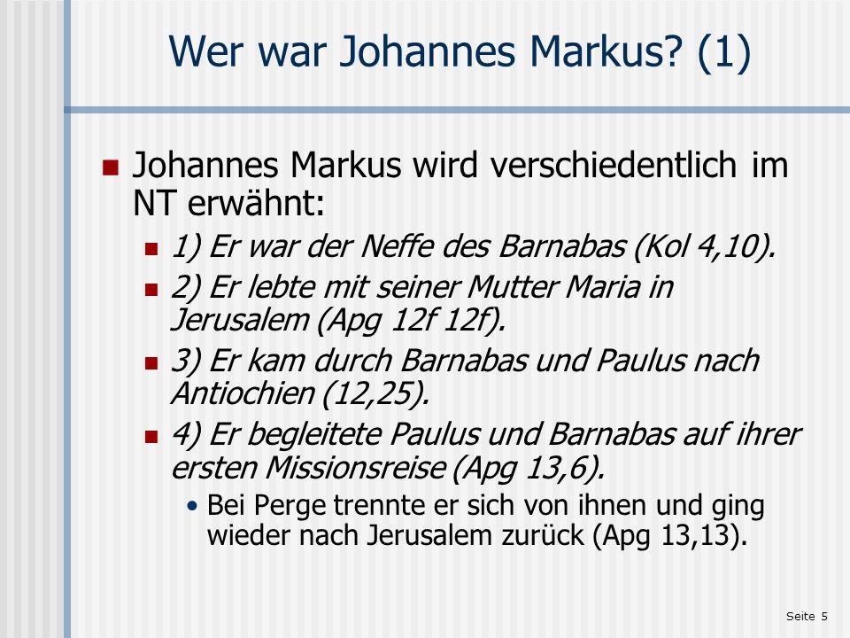 Wer war Johannes Markus (1)