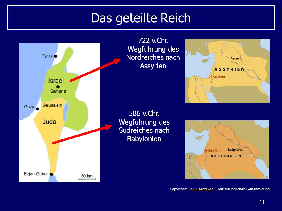 Das geteilte Reich 722 v.Chr. Wegführung des Nordreiches nach Assyrien