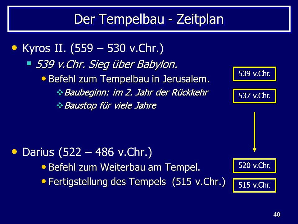 Der Tempelbau - Zeitplan