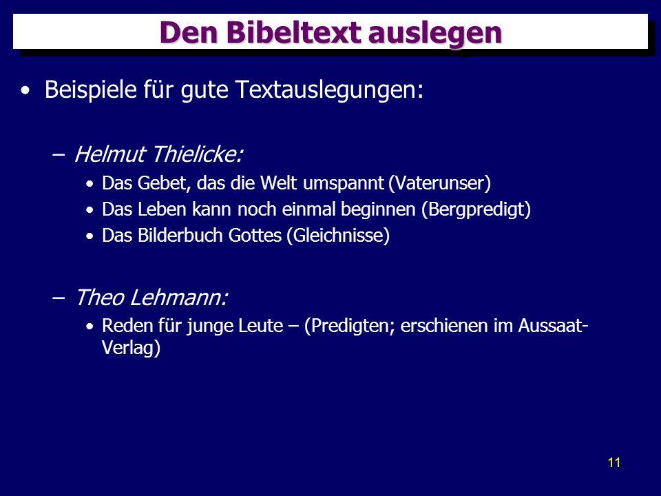 Den Bibeltext auslegen