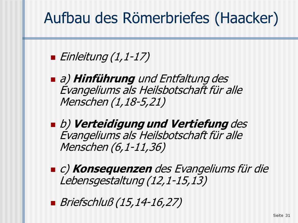 Aufbau des Römerbriefes (Haacker)