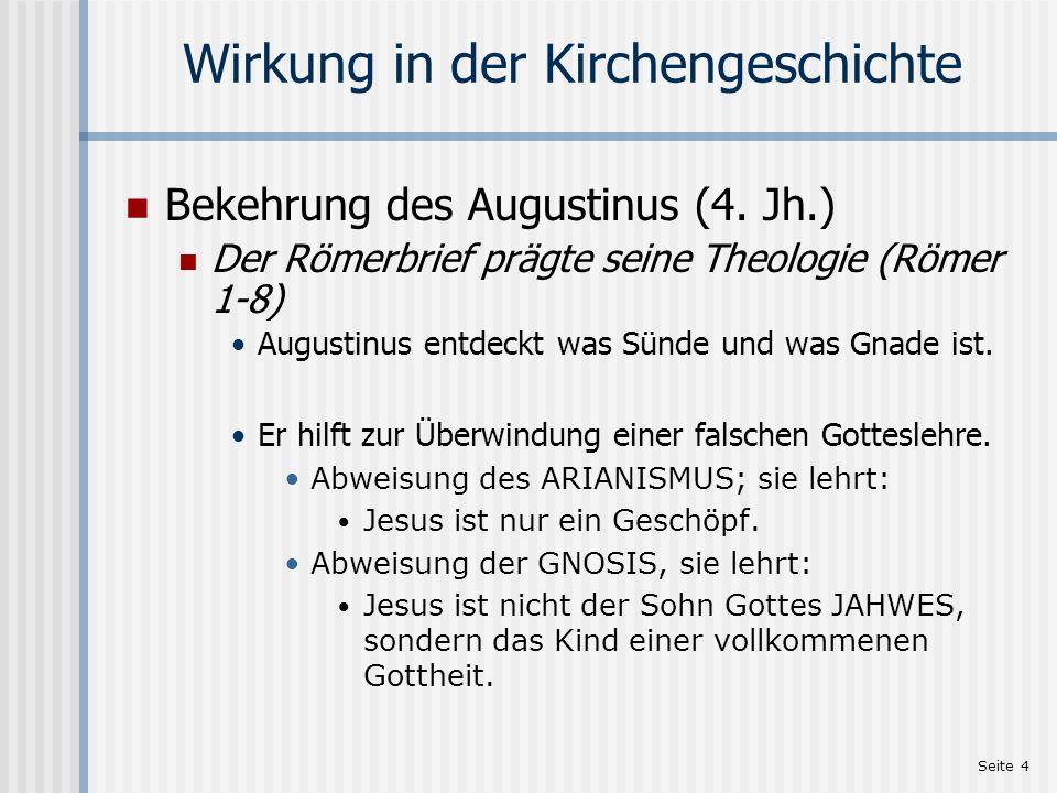 Wirkung in der Kirchengeschichte