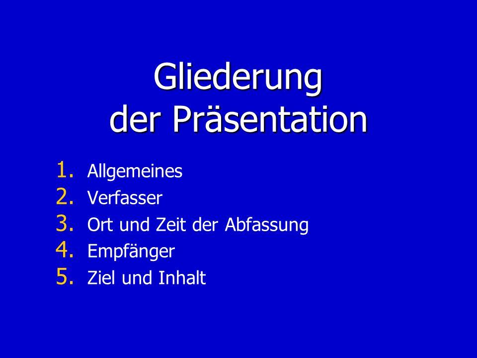 Gliederung der Präsentation