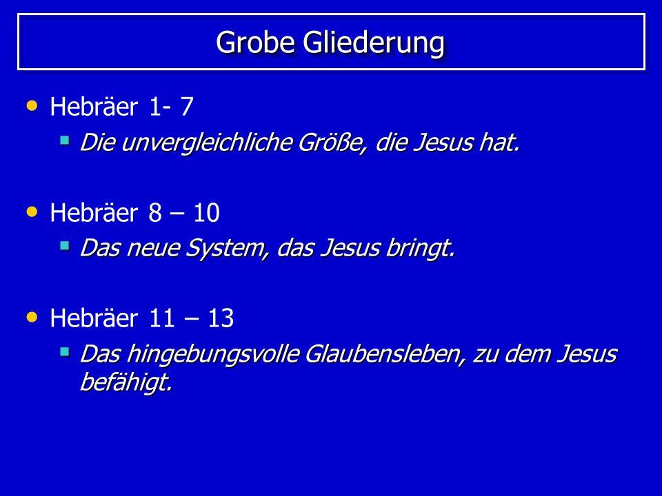 Grobe Gliederung Hebräer 1- 7 Hebräer 8 – 10 Hebräer 11 – 13