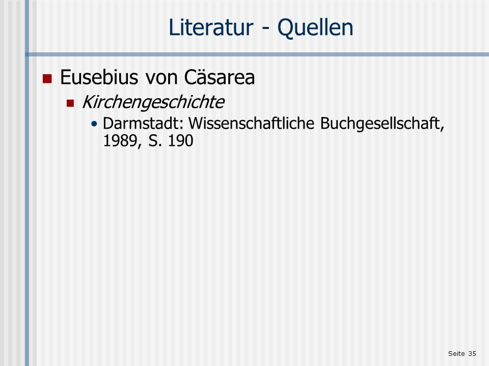 Literatur - Quellen Eusebius von Cäsarea Kirchengeschichte