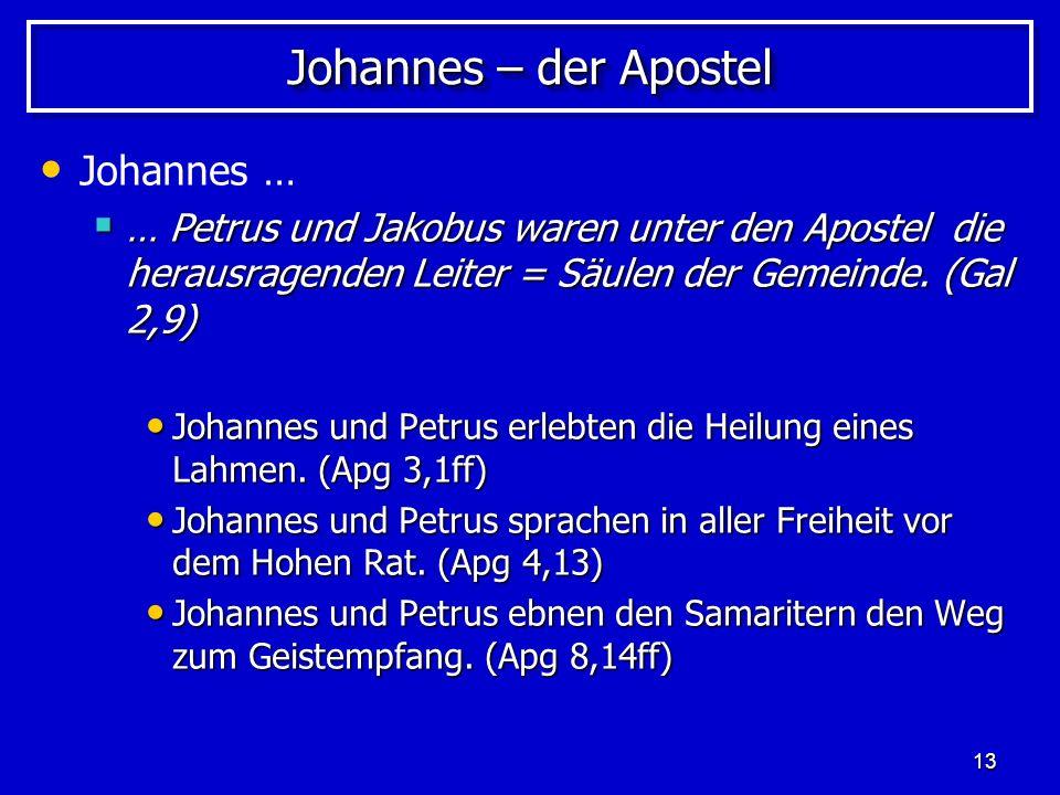 Johannes – der Apostel Johannes …