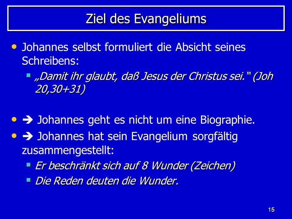 """Ziel des Evangeliums Johannes selbst formuliert die Absicht seines Schreibens: """"Damit ihr glaubt, daß Jesus der Christus sei. (Joh 20,30+31)"""