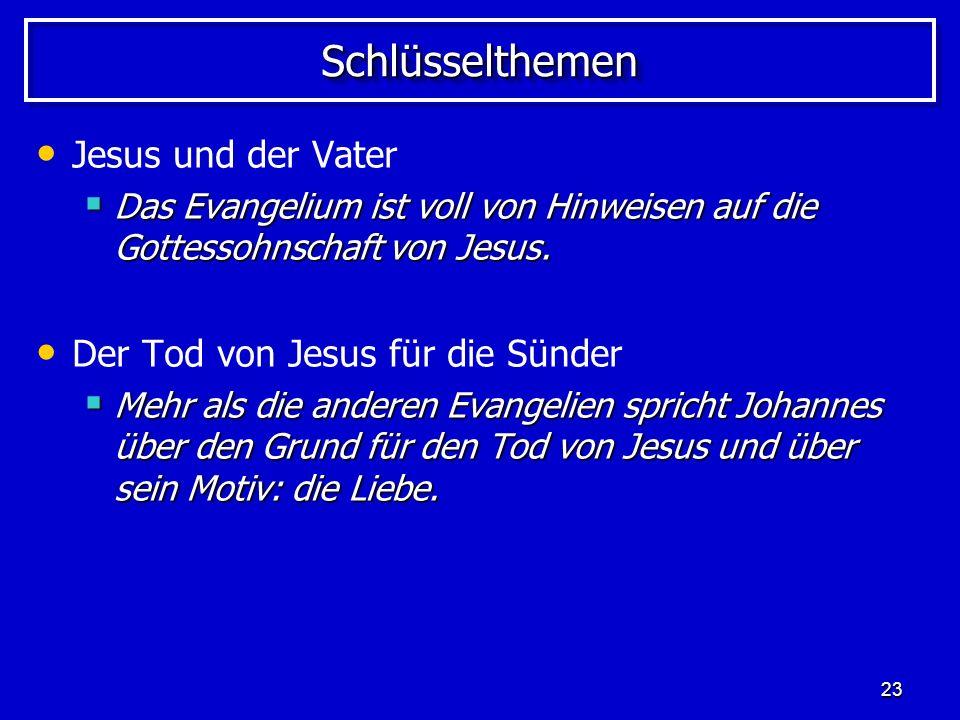 Schlüsselthemen Jesus und der Vater Der Tod von Jesus für die Sünder