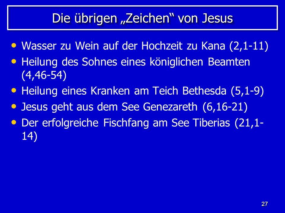 """Die übrigen """"Zeichen von Jesus"""