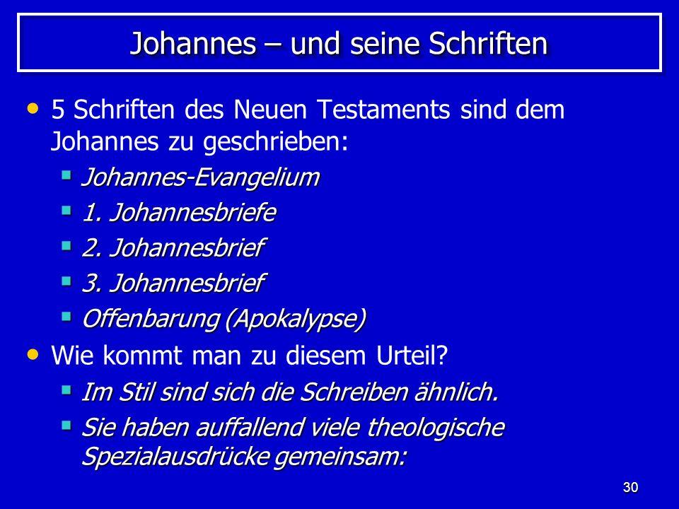 Johannes – und seine Schriften