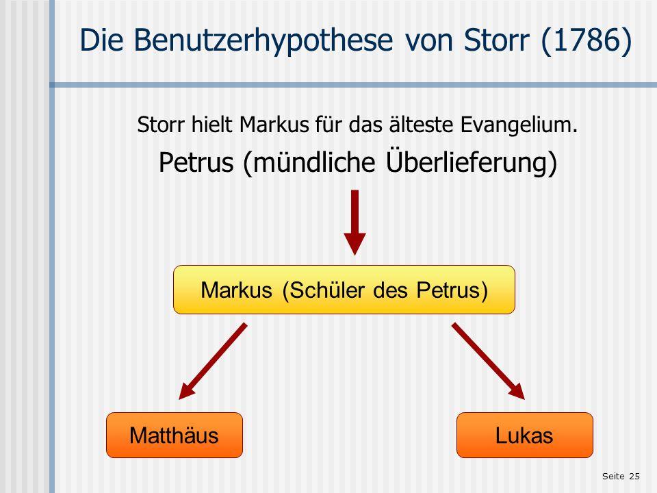 Die Benutzerhypothese von Storr (1786)