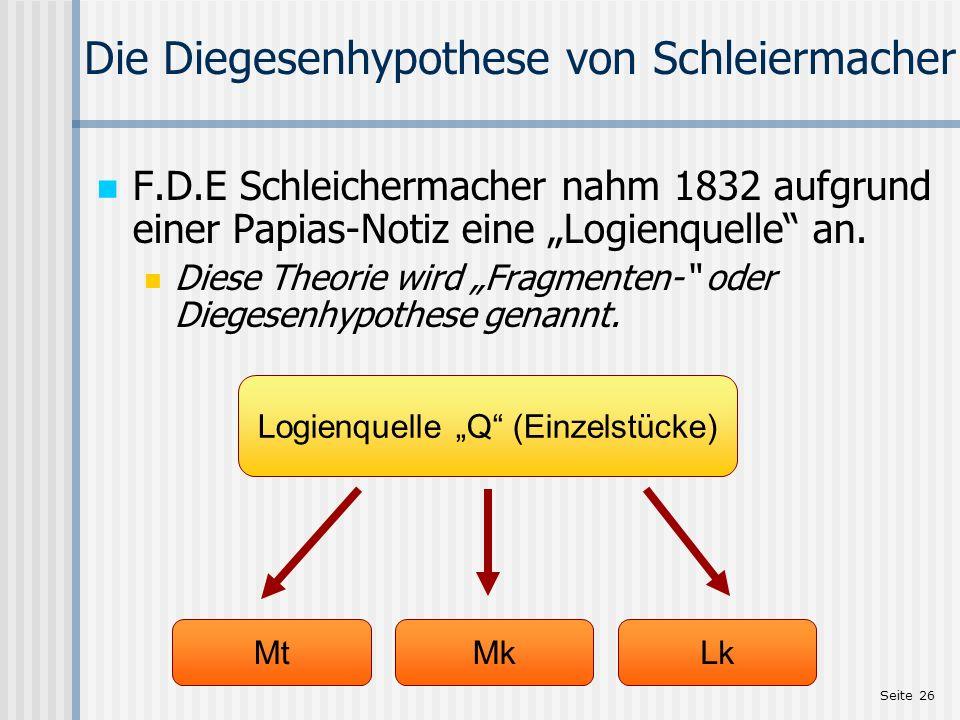 Die Diegesenhypothese von Schleiermacher