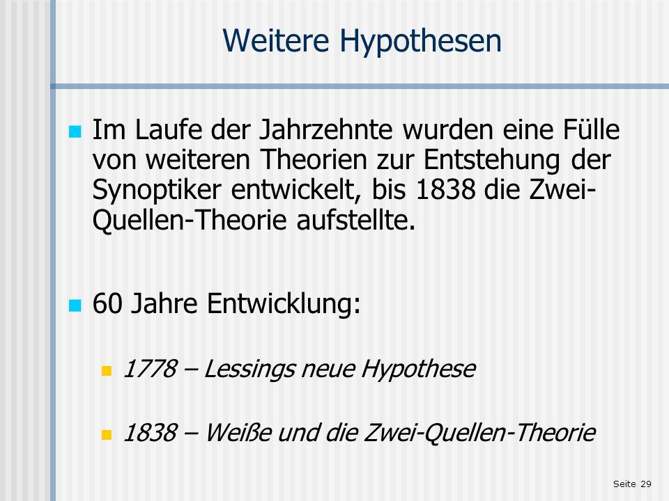 Weitere Hypothesen